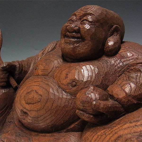 欅(ケヤキ) 布袋 叩き彫り 拭き漆仕上げ 高さ:20cm 【国内(日本人)仏師作品】 (木彫り・販売)