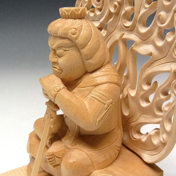 桧/檜(ヒノキ) うたた寝不動明王 高さ:19cm (販売・木彫り)