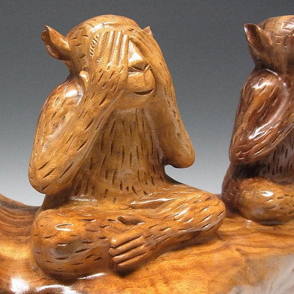 楠/樟(クス) 三猿(さんざる・さんえん) 見ざる聞かざる言わざる 幅73×高さ34cm (販売・木彫り)