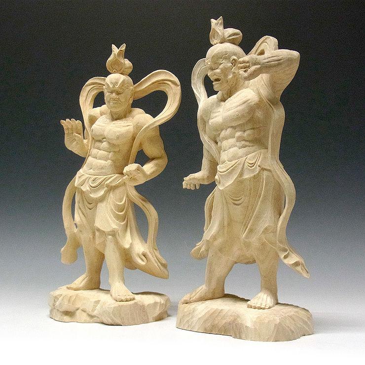楠/樟(クス) 仁王(金剛力士) 高さ32cm (販売・木彫り)