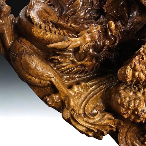 黄金楠(オウゴングス) 双龍 高120cm 幅150cm (販売・木彫り)