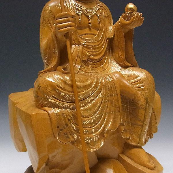 楠/樟(クス) 金箔線彩色 地蔵菩薩 (坐像) 高さ:47cm (販売・木彫り)