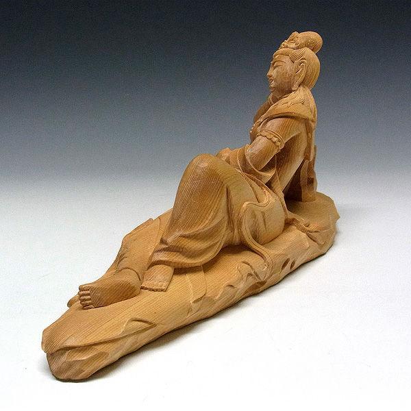 柘植/黄楊(ツゲ) 蓮臥観音(れんがかんのん) 高16幅31cm (販売・木彫り)
