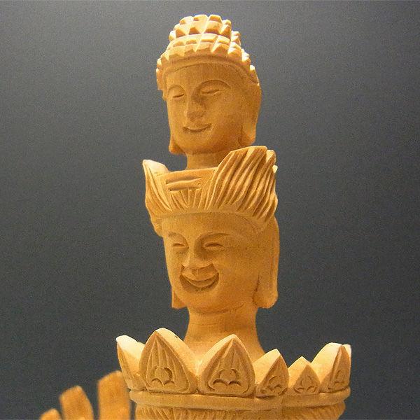 柘植/黄楊(ツゲ) 十一面千手観音 (チベット仏教) 高さ:41cm (販売・木彫り)