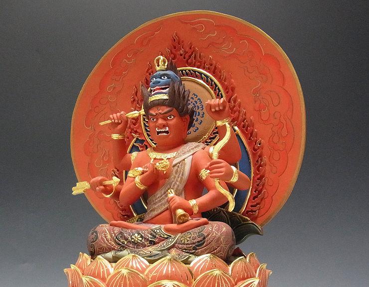 楠/樟(クス) 彩色愛染明王 高さ:34cm(木彫り・販売)