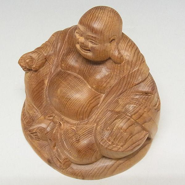 紅豆杉/赤豆杉(ベニマメスギ) 座布袋 高さ:7cm (販売・木彫り)
