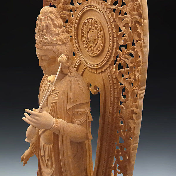 榧(カヤ) 白木 聖観音菩薩 高さ98cm (販売・木彫り)