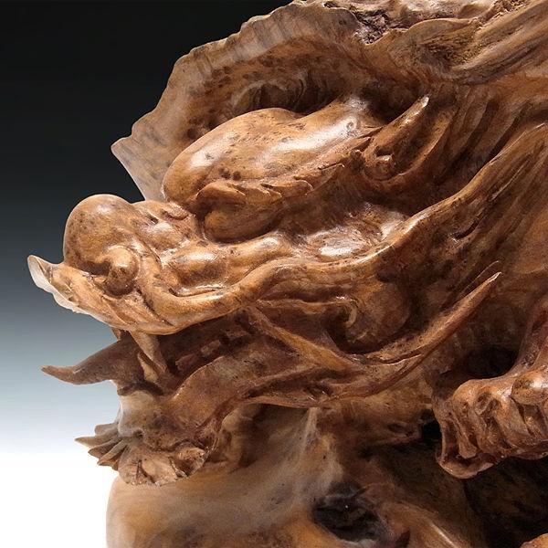 楠/樟(クス) 木彫りの龍亀(ロングイ) 高28×幅42cm (販売・木彫り)