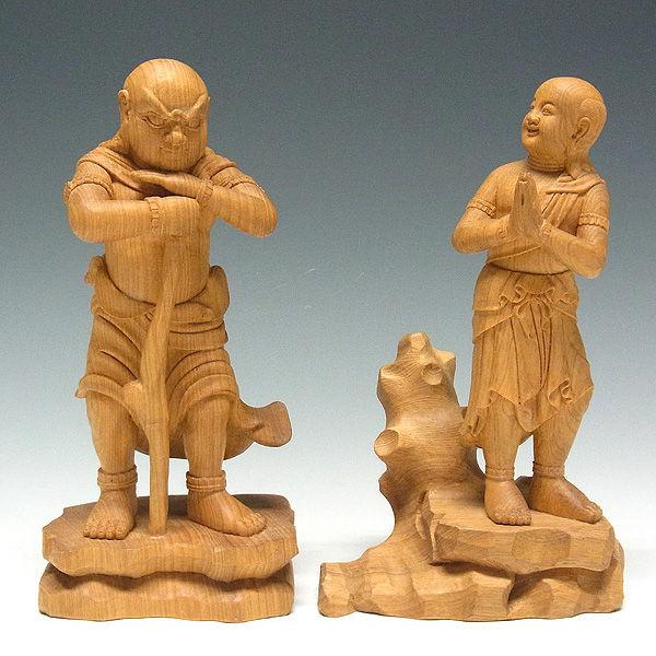 木曽桧/檜(きそひのき) 二童子 矜羯羅(こんがら)・制吐迦(せいたか) 高さ:20cm 【日本仏師作品】 (販売・木彫り)