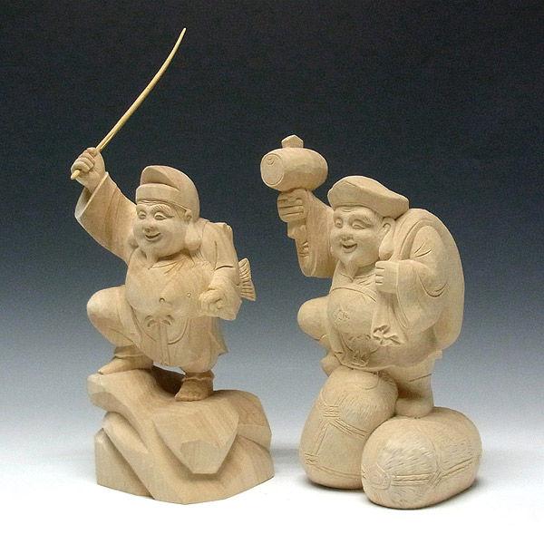 楠/樟(クス) 恵比寿大黒 高さ30cm (販売・木彫り)