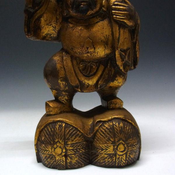楠 古色 木彫り 恵比寿大黒 高さ:33cm (販売・木彫り)