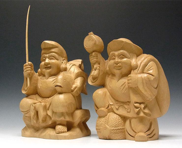 楠/樟(クス) 恵比寿大黒 高さ27cm (販売・木彫り)