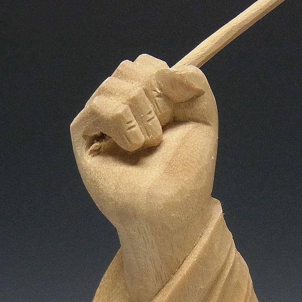 楠/樟(クス) 白木 恵比寿 高さ:36cm (販売・木彫り)