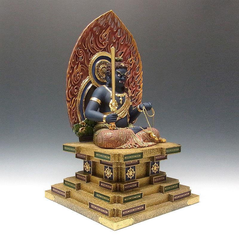 楠/樟(クス) 極彩色 不動明王 坐像 高さ67cm (販売・木彫り)
