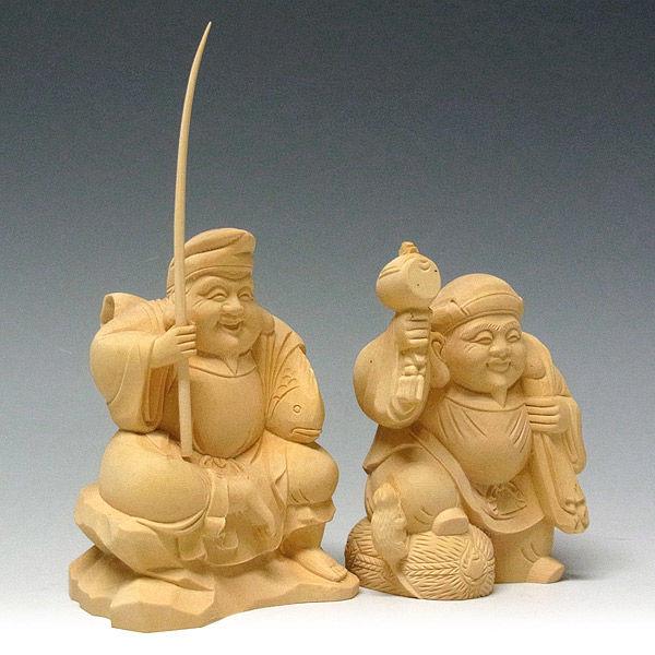 柘植/黄楊(ツゲ) 恵比寿大黒セット ネズミ付き 高さ10cm (販売・木彫り)