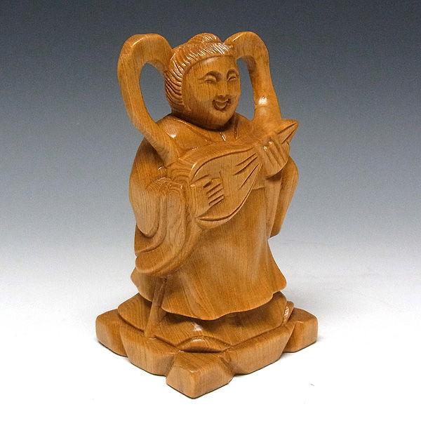 桧/檜(ヒノキ) 台座:鉄刀木(タガヤサン) 七福神(小) 高21×幅63cm(木彫り・販売)