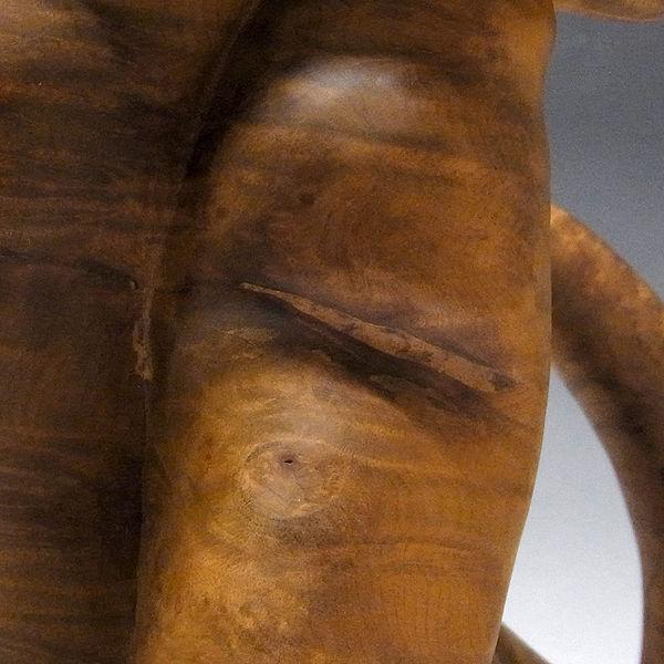 杉/椙(スギ) 木彫りの豹(ヒョウ) 高さ:45cm (販売・木彫り)