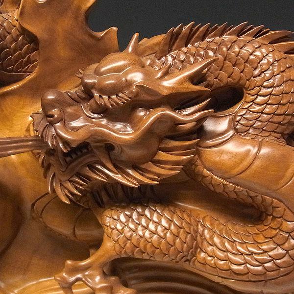 榧(カヤ) 単龍 高さ:65cm (販売・木彫り)