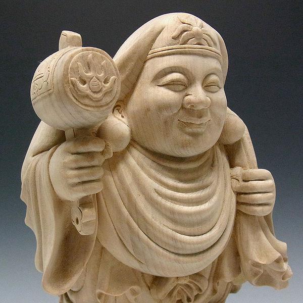 楠/樟(クス) 白木 大黒天 高さ:33cm (販売・木彫り)