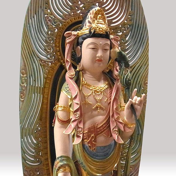 楠/樟(クス) 彩色 聖観音菩薩 高さ88cm (販売・木彫り)