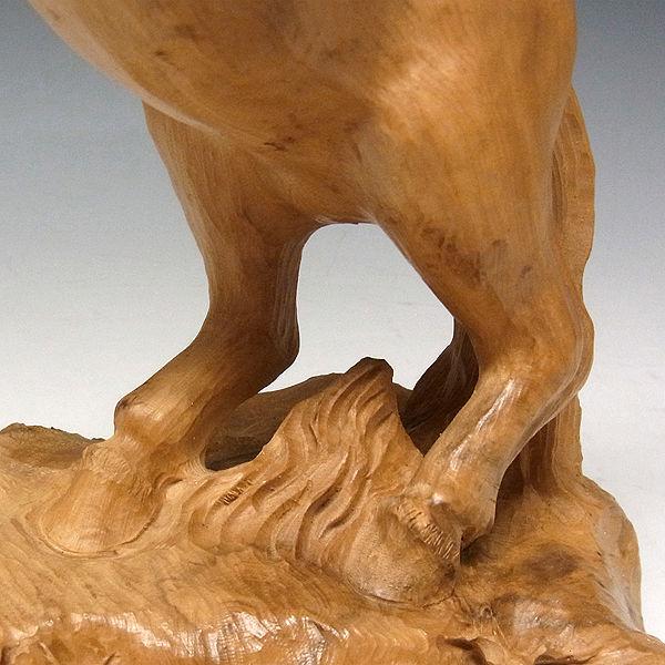 柘植/黄楊(ツゲ) 木彫りの馬 高さ30cm (販売・木彫り)