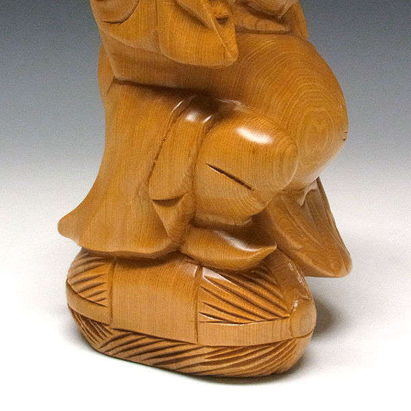 特別プライス】桧/檜(ヒノキ) 恵比寿大黒 置物 高さ:24cm (販売・木彫り)
