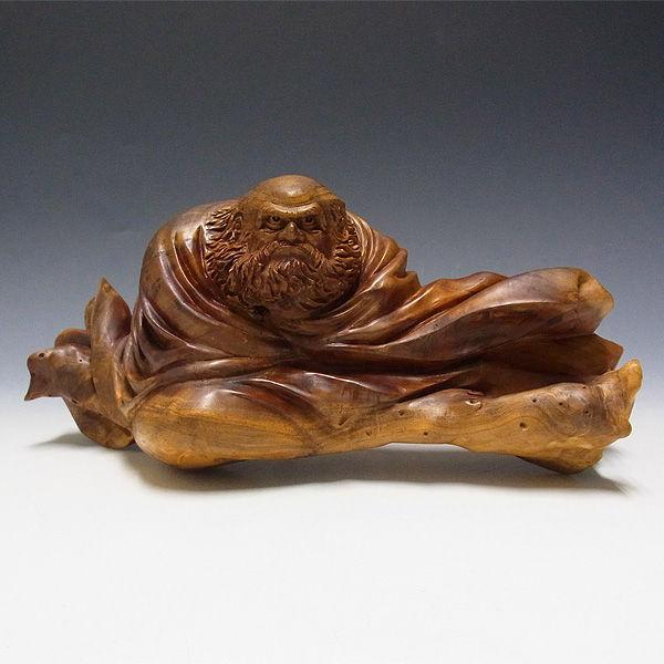 【特別プライス】楠/樟(クス) 達磨大師 横:26cm (販売・木彫り)
