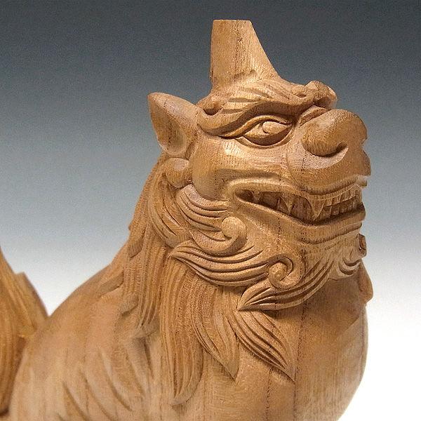 国産 欅(ケヤキ) 木彫りの狛犬(獅子狛犬) 高さ:17cm (販売・木彫り)