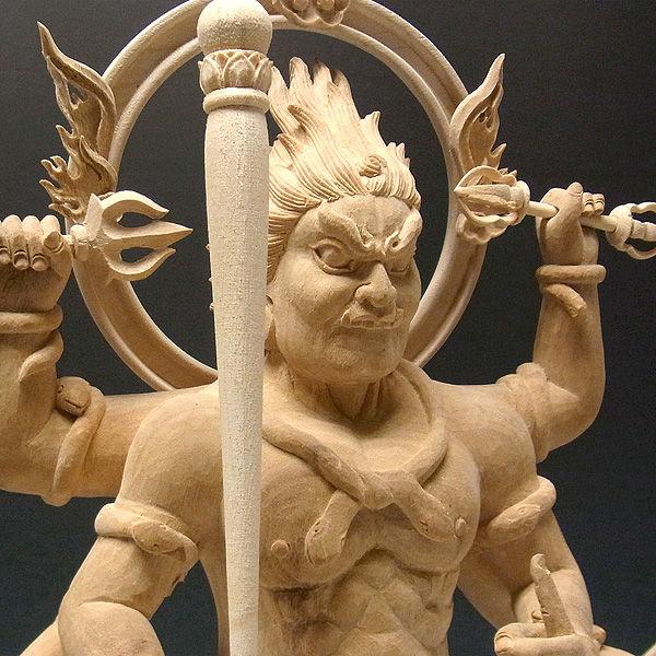 楠/樟(クス) 白木 大元帥明王 高さ:60cm (販売・木彫り)