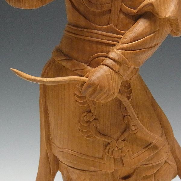 木曽桧/檜(きそひのき) 十二神将 丑神 招杜羅大将 しょうとら 全体高:37.5cm 【国内仏師(日本仏師)作品】 (販売・木彫り)