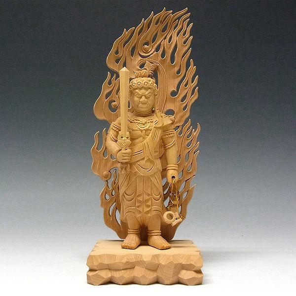 柘植/黄楊(ツゲ) 不動明王 高さ:22cm (販売・木彫り)