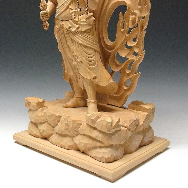 榧(カヤ) 白木 不動明王 高さ69cm (販売・木彫り)