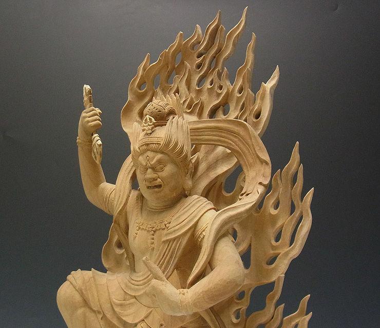 楠/樟(クス) 白木 不蔵王権現 高さ:56cm(木彫り・販売)