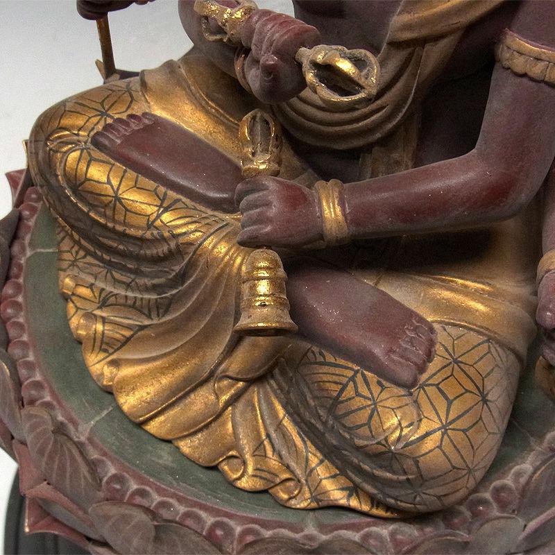 楠/樟(クス) 古色 愛染明王 高さ:53cm (販売・木彫り)
