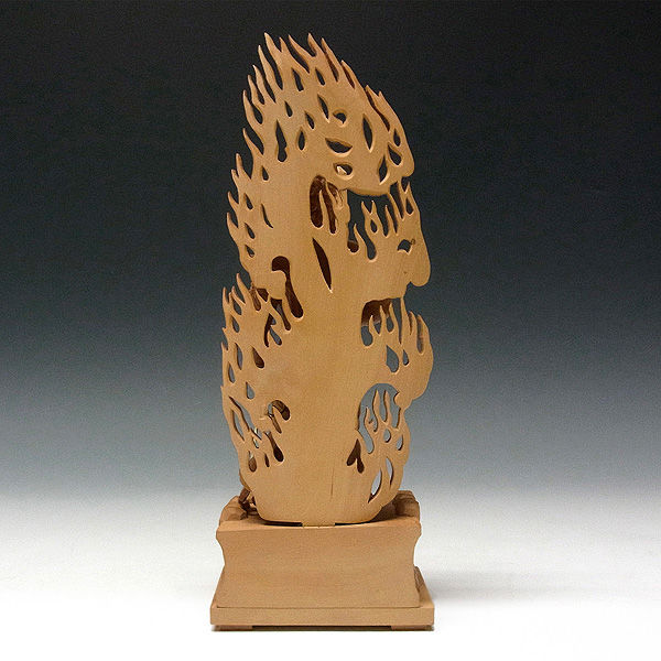 柘植/黄楊(ツゲ) 不動明王 (立像) 高さ:28cm (販売・木彫り)