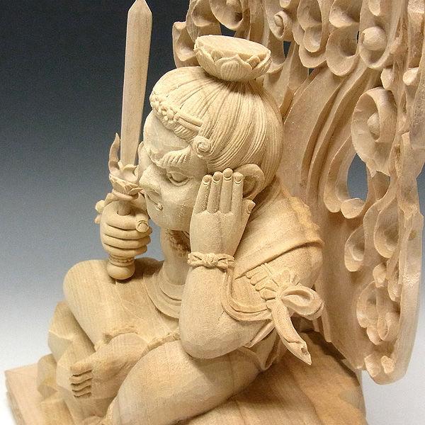楠/樟(クス) 白木 童眠り不動明王 高さ31cm (販売・木彫り)
