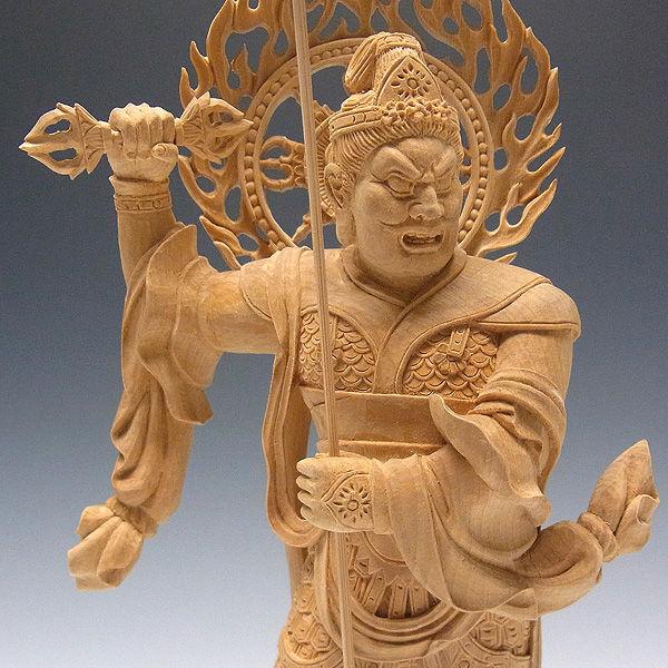 榧(カヤ) 増長天 高さ:34cm (販売・木彫り)