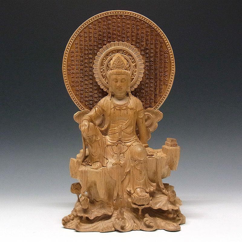 台湾桧(タイワンヒノキ) 心経観音(般若心経光背) 仏像高さ:33cm ガラスケース付き ケース高さ:44cm (販売・木彫り)