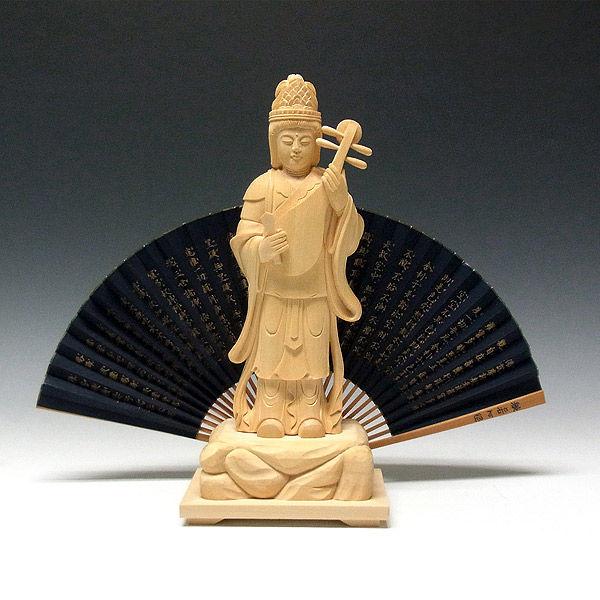桧/檜(ヒノキ) 弁財天 高さ31cm (販売・木彫り)