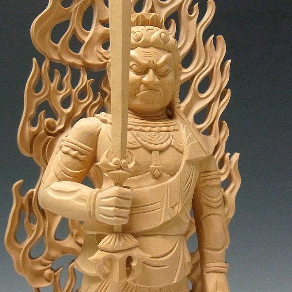柘植/黄楊(ツゲ) 不動明王 (立像) 高さ26cm (販売・木彫り)