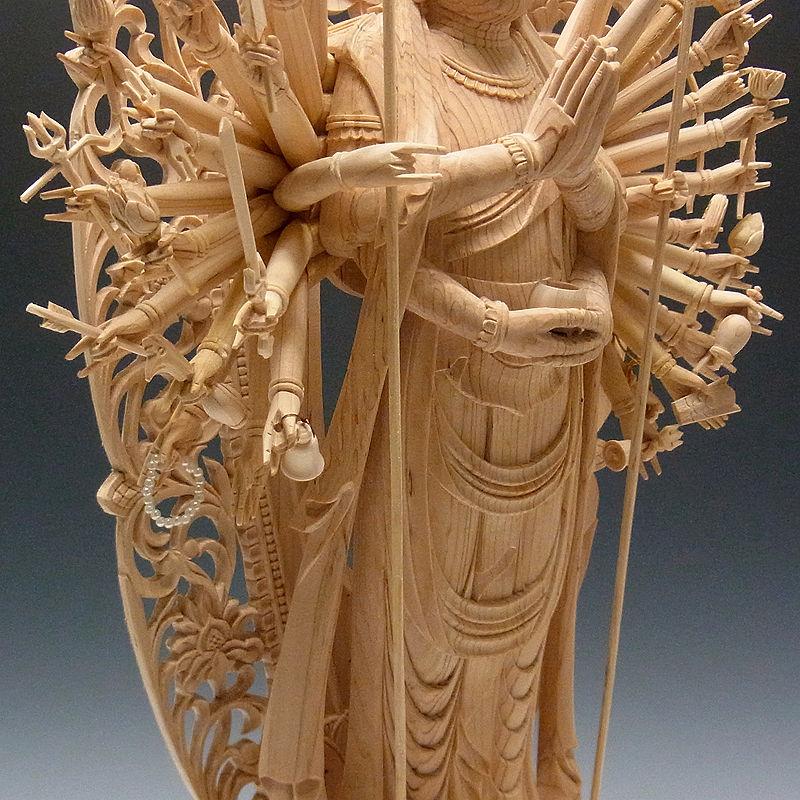 国産桧 千手観音菩薩 立像 高さ:66cm (販売・木彫り)