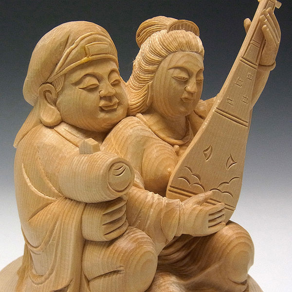 桧/檜(ヒノキ) 弁財大黒天(弁財天・大黒天) 高さ:20cm (販売・木彫り)