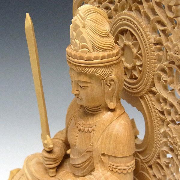 柘植/黄楊(ツゲ) 文殊菩薩・獅子坐 高さ:27cm (販売・木彫り)