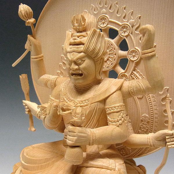 桧/檜(ヒノキ) 愛染明王 高さ30cm (販売・木彫り)