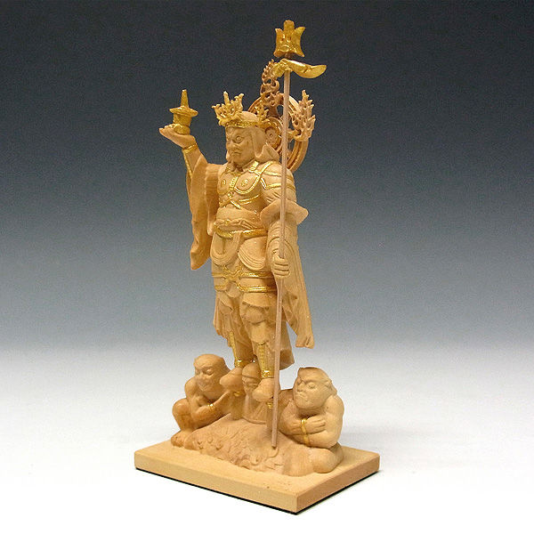柘植/黄楊(ツゲ) 金彩(金泥) 四天王 高さ12.5cm 【本格ミニ仏像】 (販売・木彫り)