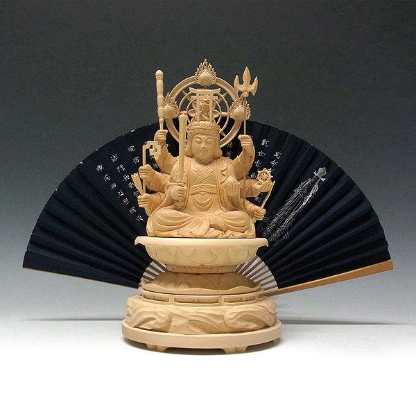 桧/檜(ヒノキ) 八臂弁財天(はっぴ弁財天) 高さ28cm (販売・木彫り)