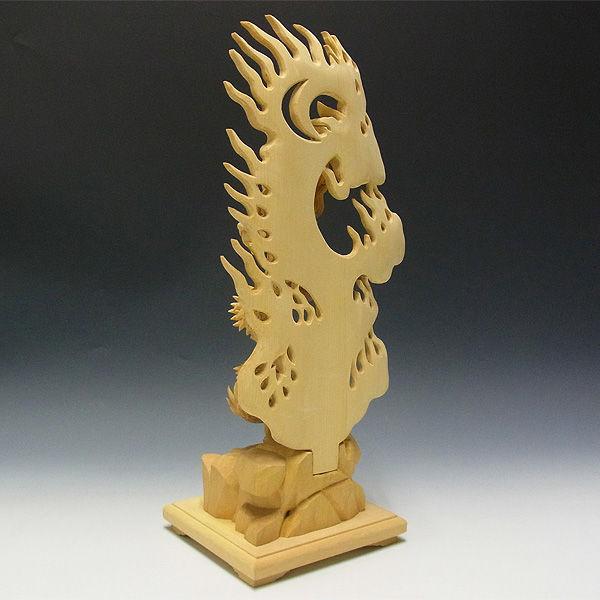 榧(カヤ) 倶利伽羅不動 高さ:43cm (販売・木彫り)