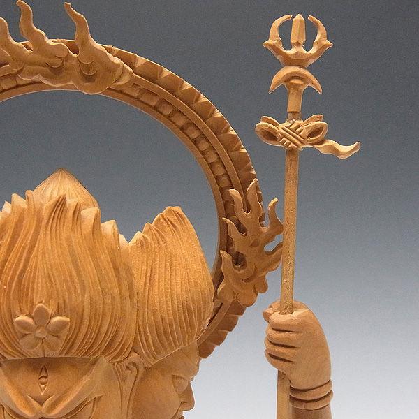 柘植/黄楊(ツゲ) 三宝荒神 高さ:28cm (販売・木彫り)