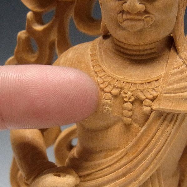 【極上彫り】榧(カヤ) 白木 不動明王 高さ:28cm (販売・木彫り)
