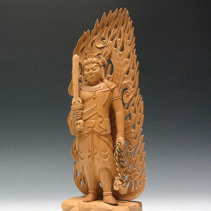 【特別プライス】 柘植/黄楊(ツゲ) 不動明王 (立像) 高さ:28cm (販売・木彫り)